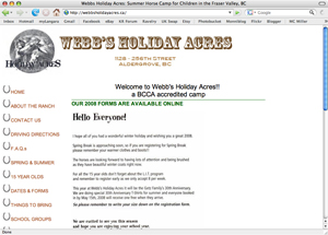 Webb's Holiday Acres -- website circa 2008