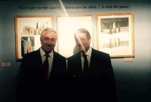 Both leaders Nicos Anastasiades and Mustafa Akıncı at the Centre of Visual Arts and Research (CVAR)