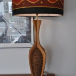 Mid Century Cork And Oak Table Lamp Boab With New African Cotton Shade Mcmlamps