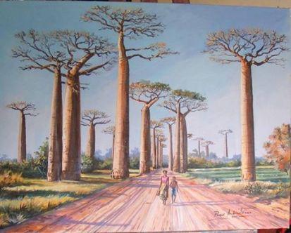 """""""Baobabs"""" par Prince Andriantsilavo Huile sur toile 65×50cm"""