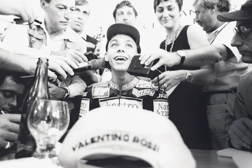 A young Valentino Rossi taking questions