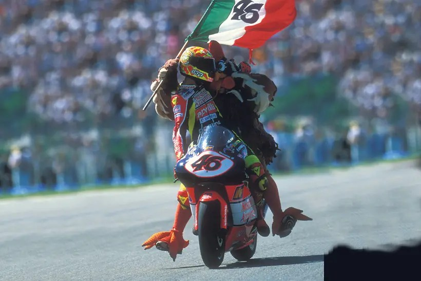 Rossi celebrates a victory with a chicken
