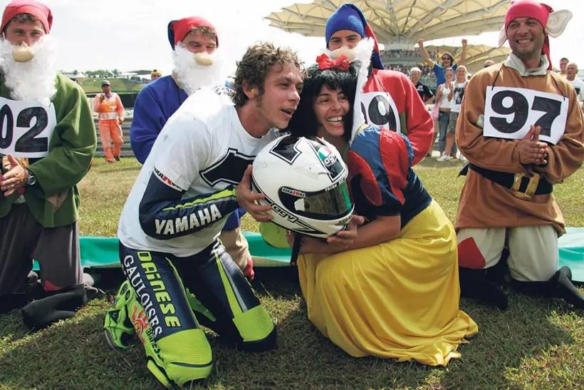Rossi celebrates with Snow White
