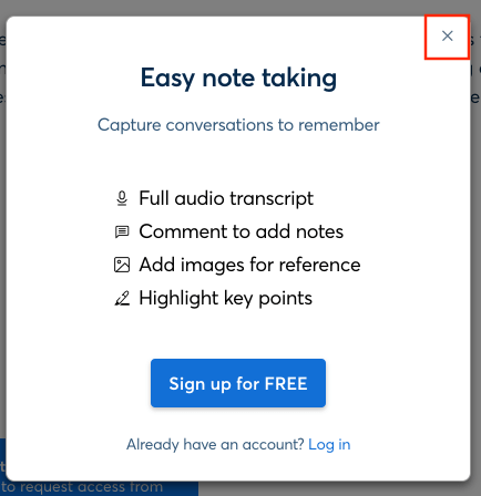 A screenshot of the Modal window that says Easy not taking with the X in the upper right highlighted.