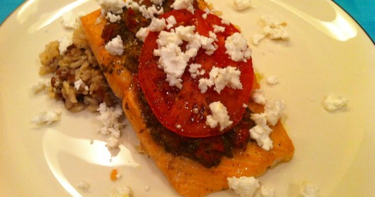 Broiled Salmon with Basil Pesto, Tomato and Feta