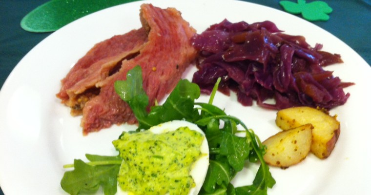 St. Patrick's Day Meal: Corned Beef, Braised Red Cabbage, Potatoes and Green Deviled Eggs!