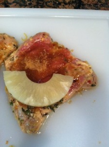 Brown sugar and pineapple stuffed chicken thigh