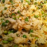 Indian Rice with spices and garden peas