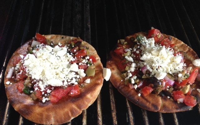 Grilled Pita with Tomato, Olives and Feta