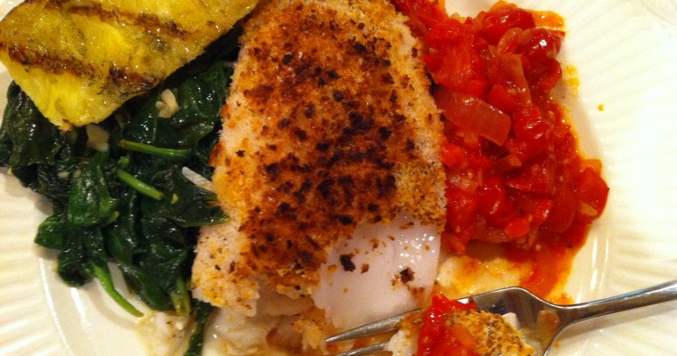 Halibut – roasted with tomato chutney and sauteed spinach