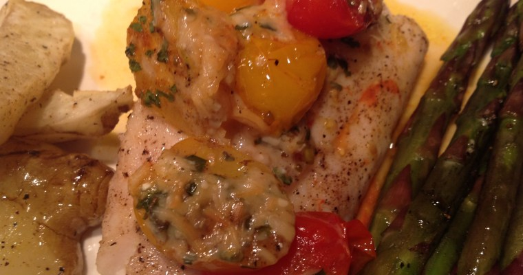 Pan Seared Red Snapper with Roasted Heirloom Tomatoes
