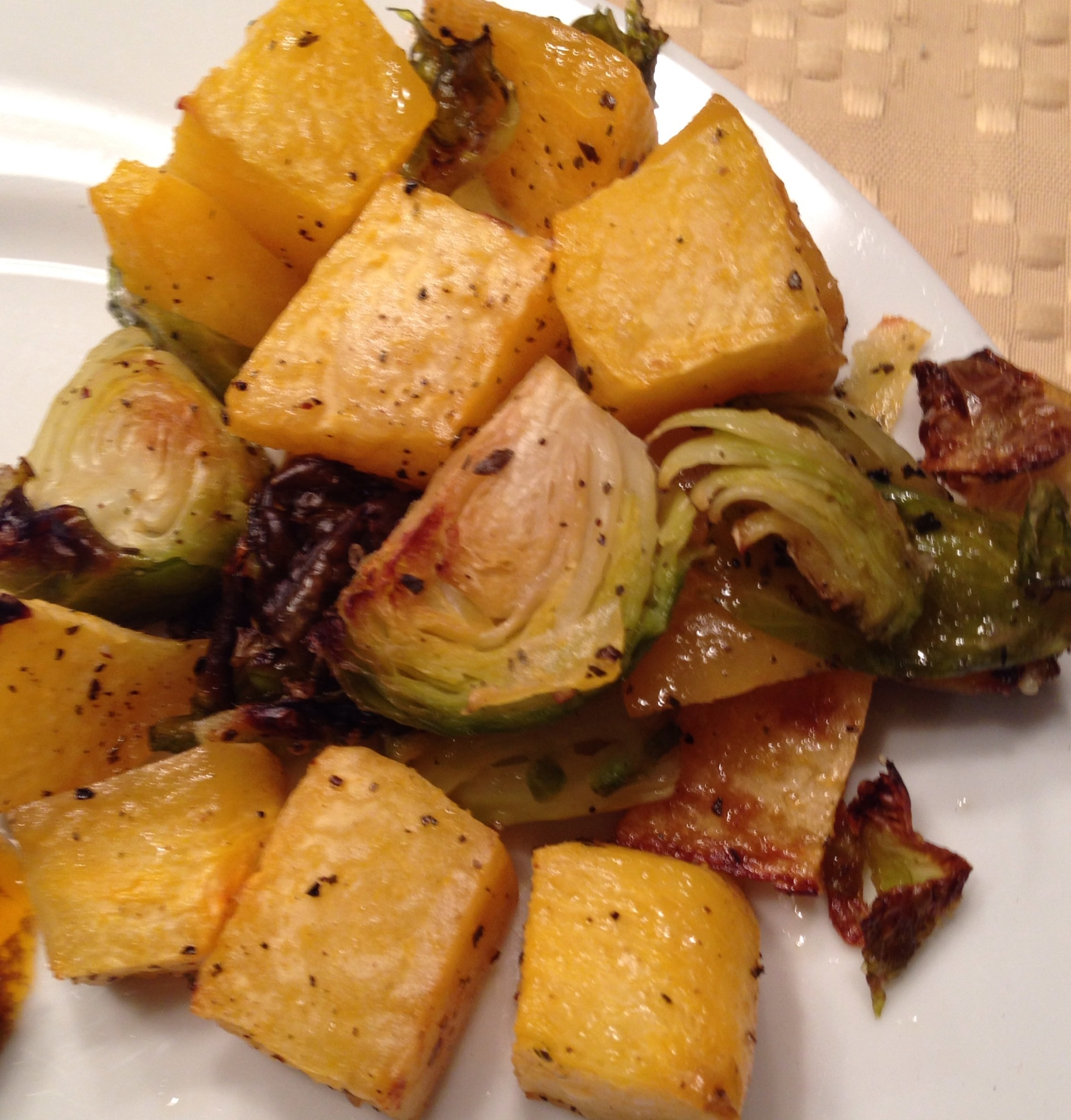 Roasted Rutabaga and Brussels Sprouts
