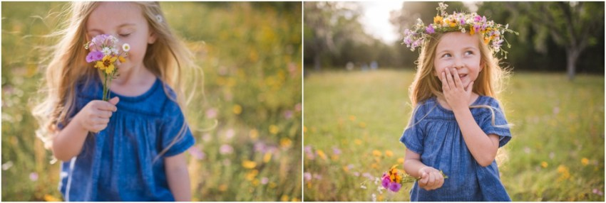 little sweet girl smelling flowers | Jacksonville Children Photographer