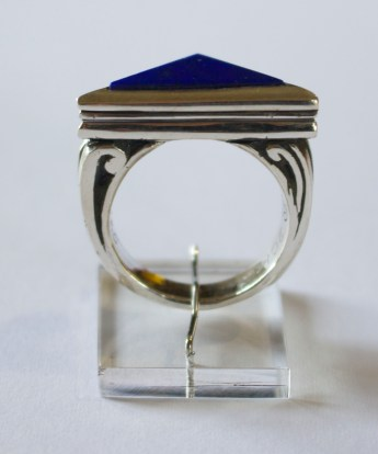 Triangular Ring: silver, lapis lazuli