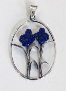 Pendant: Irises; silver, lapis lazuli.