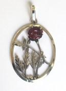 Rose: pendant; silver, garnet
