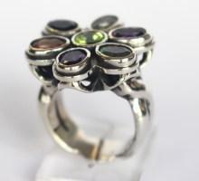 Ring: Tutti Frutti: silver, peridot, amethysts, opals