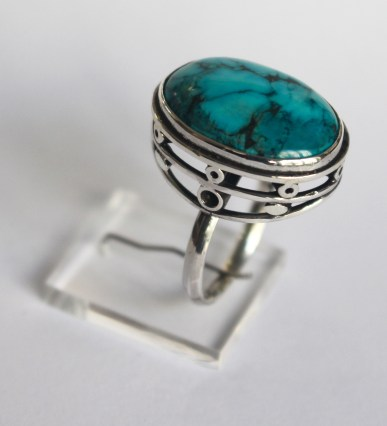 Ring: silver, turquoise