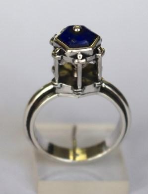 Finger Shrine: Ring; silver, lapis lazuli