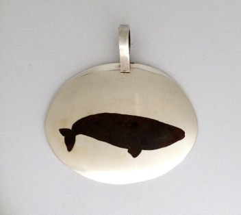 Whale Pendant: Inlaid silver