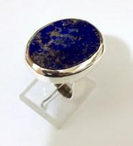 Ring with Oval Lapis Lazuli: silver, lapis lazuli