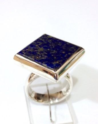 Ring with Square Lapis Lazuli: silver, lapis lazuli