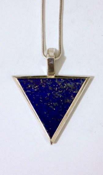 Pendant with Triangular Lapis Lazuli: Silver, lapis lazuli