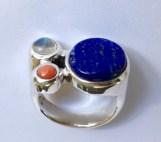 Ring: silver, rainbow moonstone, coral, lapis lazuli