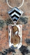 Pendant: silver, mother of pearl, jet, agate