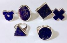 Rings: silver, lapis lazuli