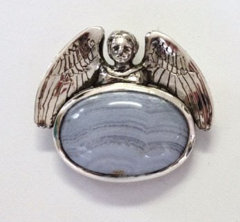 Angel: Sleep: Pendant, silver, blue lace agate