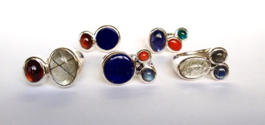 Assorted rings: silver, various stones