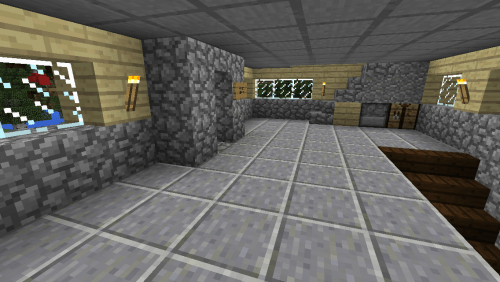 Inside the Spawn House.What looks like a fireplace is actually the ladder up to the tower.
