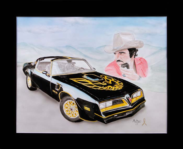 1979 Black and Gold Pontiac Trans Am and Burt Reynolds from the movie Smokey and the Bandit - painting by Jeff McPhail