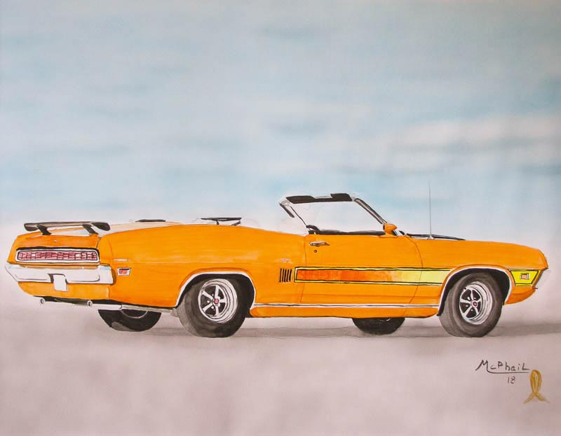 Ford Torino GT watercolor painting on paper