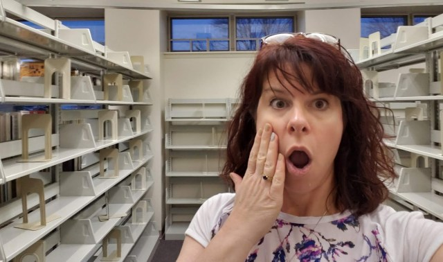 library manager feigning surprise