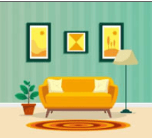 Colorful drawing of a neat living room