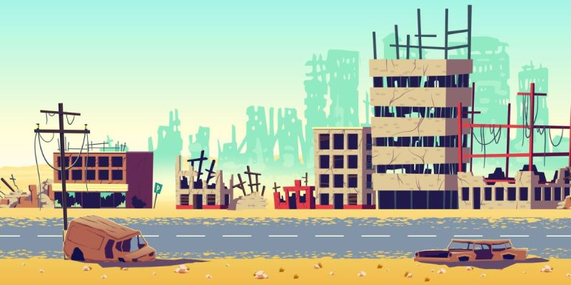 Cartoon depiction of a ruined cityscape