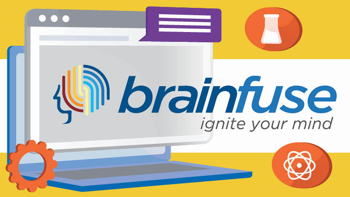 Logo for Brainfuse e-resources, with an illustration of a laptop on the left, with an illustration of a colorful brain superimposed on it.
