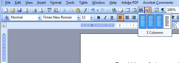 Columns Tool on Standard Toolbar