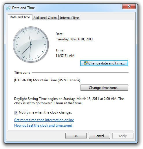 Date and Time Tool Windows