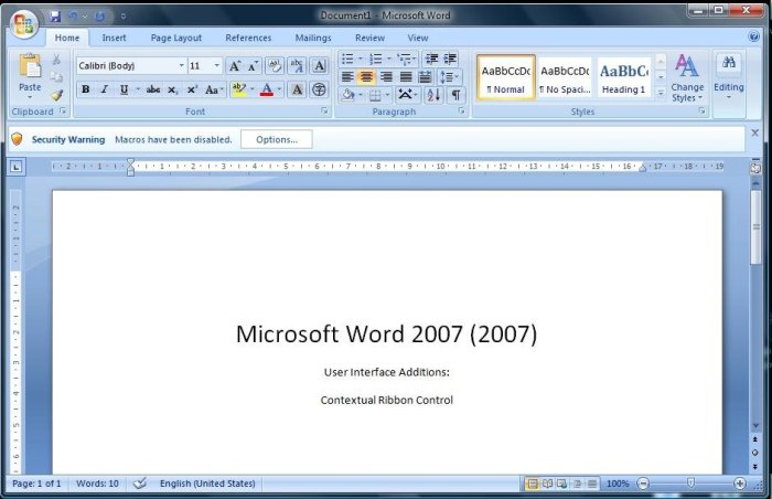 MS Word 2007 Screen