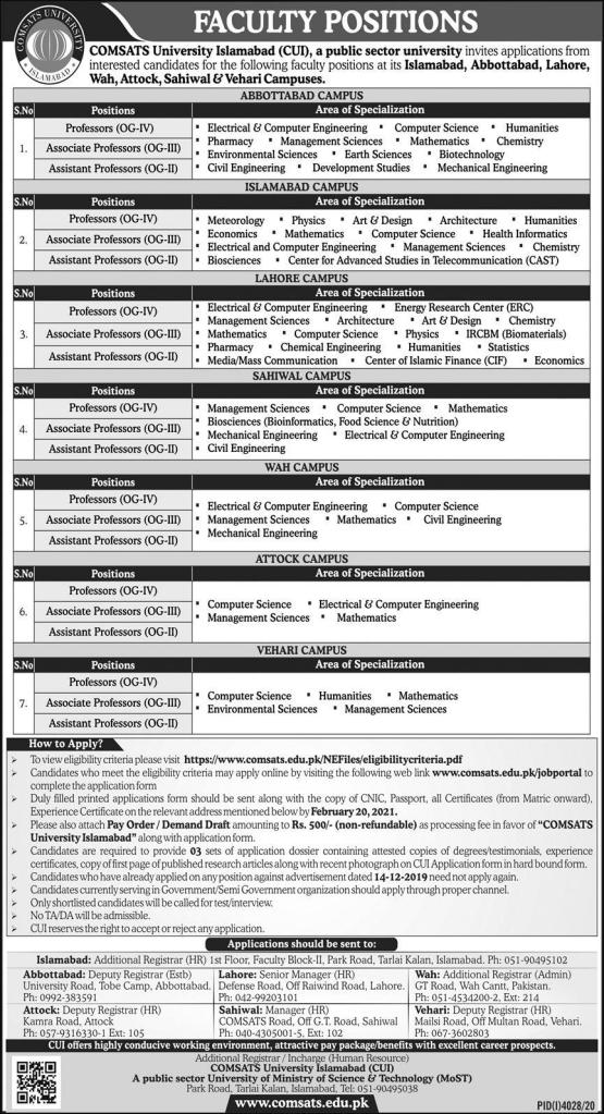 COMSATS University Jobs 2021
