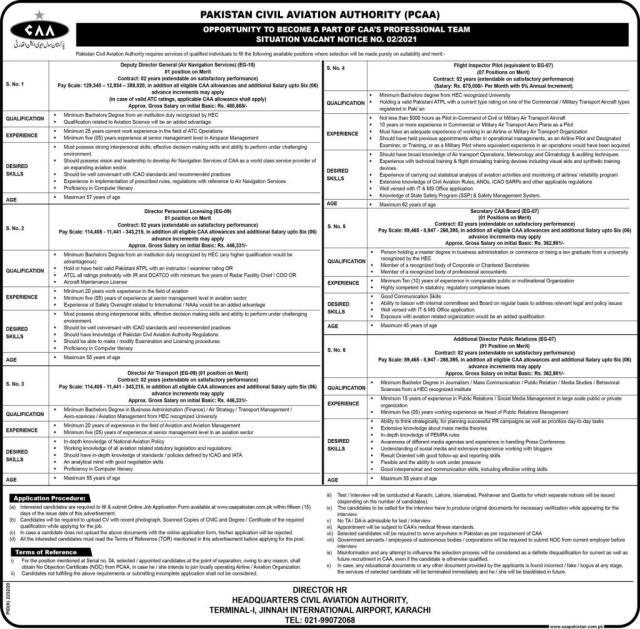 Pakistan Civil Aviation Authority (PCAA) Jobs 2021 (21-02-2021)