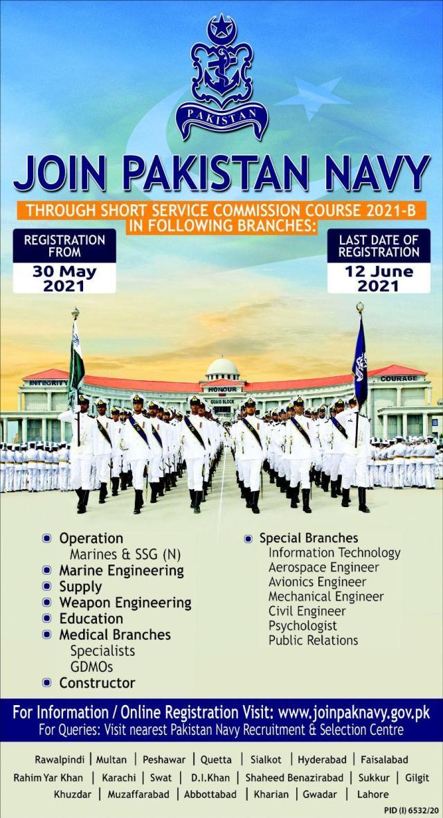 Pakistan Navy Short Service Commission SSC 2021-B Jobs