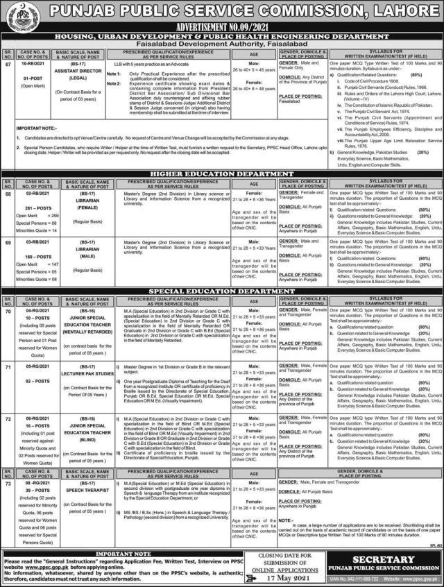 Punjab Public Service Commission (PPSC) Jobs 2021 (02-05-2021)