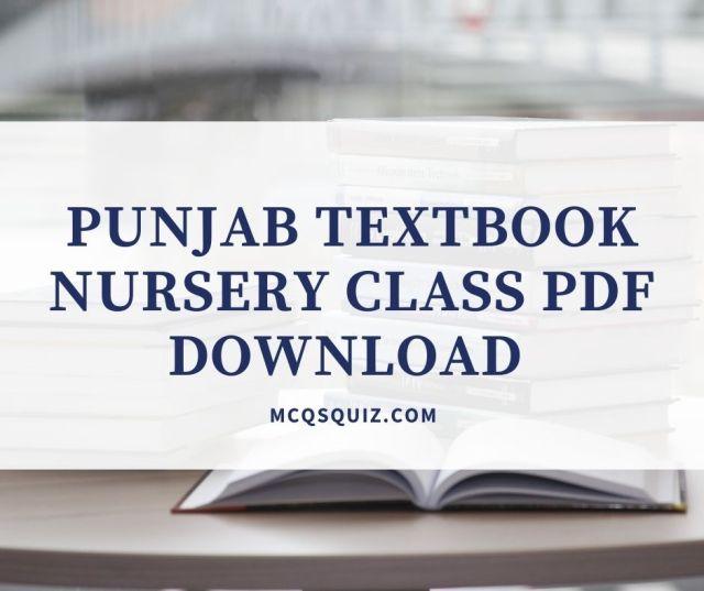 Punjab Textbook Nursery Class PDF Download
