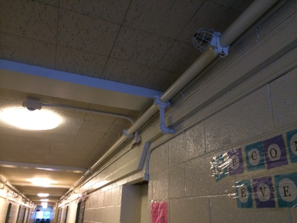 Above, an image of where the fire alarm systems are located in Jasper Hall. Photo by Kieran Rock.