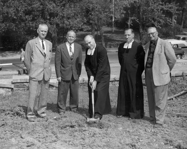 The groundbreaking of Jasper Hall in Oct. 1955.