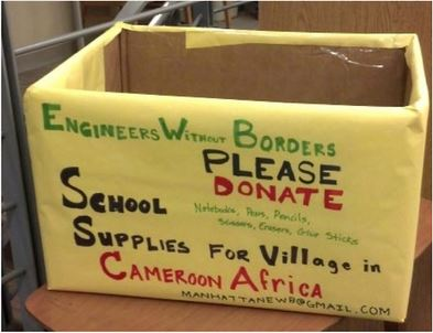 Above, a collection box for Engineers Without Borders' service trip to Cameroon. Photo by Michelle DePinho.